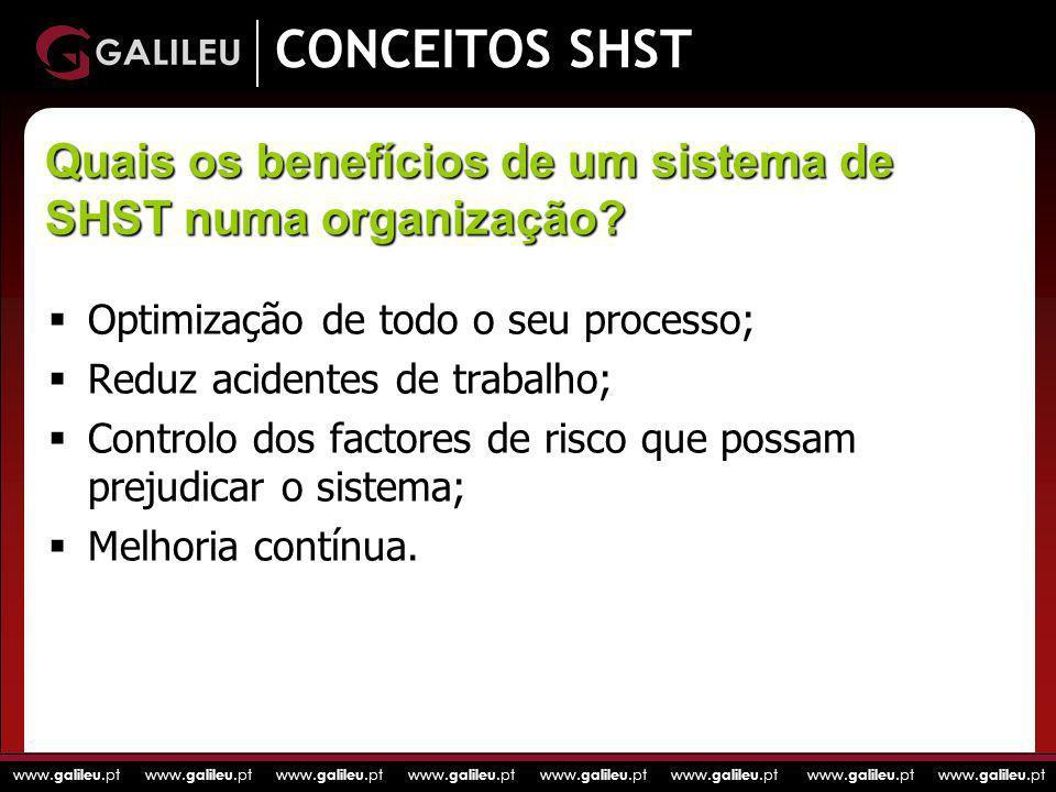 www. galileu.pt www. galileu.pt www. galileu.pt www. galileu.pt CONCEITOS SHST Optimização de todo o seu processo; Reduz acidentes de trabalho; Contro