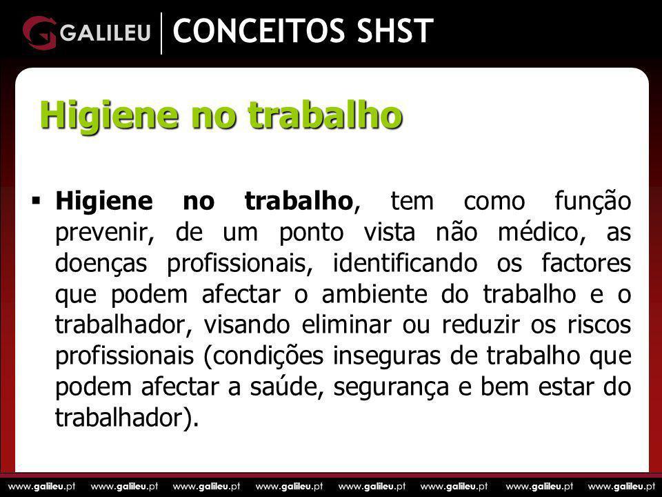 www. galileu.pt www. galileu.pt www. galileu.pt www. galileu.pt CONCEITOS SHST Higiene no trabalho, tem como função prevenir, de um ponto vista não mé