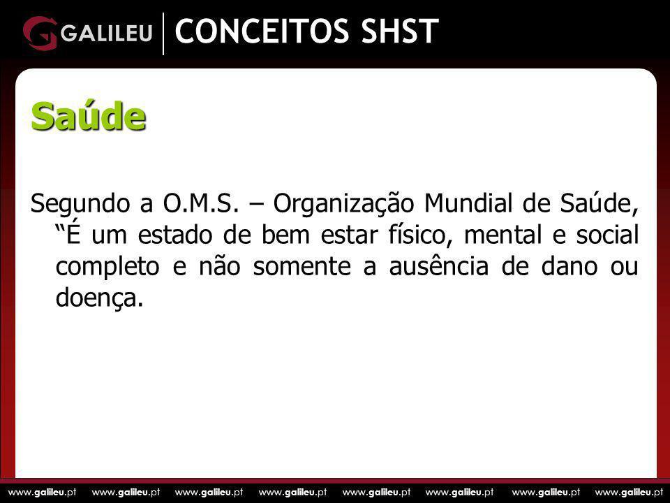 www. galileu.pt www. galileu.pt www. galileu.pt www. galileu.pt CONCEITOS SHST Segundo a O.M.S. – Organização Mundial de Saúde, É um estado de bem est