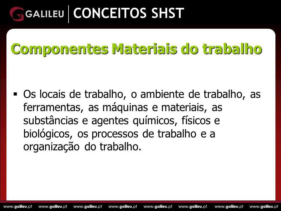 www. galileu.pt www. galileu.pt www. galileu.pt www. galileu.pt CONCEITOS SHST Os locais de trabalho, o ambiente de trabalho, as ferramentas, as máqui