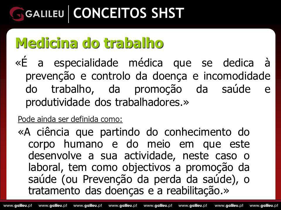 www. galileu.pt www. galileu.pt www. galileu.pt www. galileu.pt CONCEITOS SHST «É a especialidade médica que se dedica à prevenção e controlo da doenç