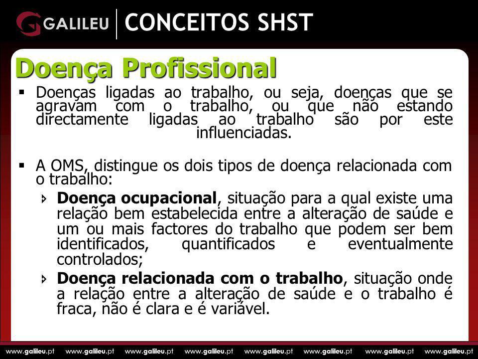 www. galileu.pt www. galileu.pt www. galileu.pt www. galileu.pt CONCEITOS SHST Doenças ligadas ao trabalho, ou seja, doenças que se agravam com o trab