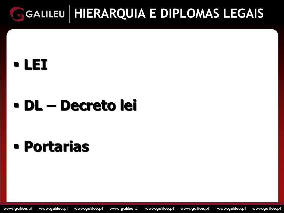 www. galileu.pt www. galileu.pt www. galileu.pt www. galileu.pt HIERARQUIA E DIPLOMAS LEGAIS LEI LEI DL – Decreto lei DL – Decreto lei Portarias Porta