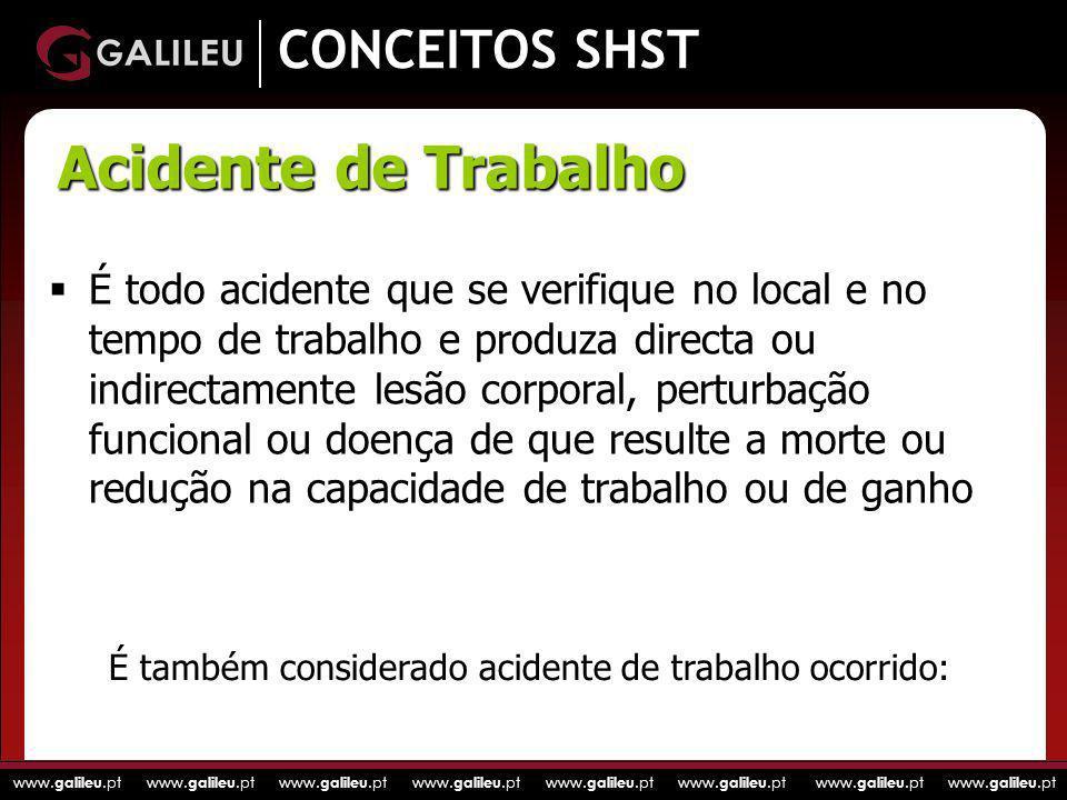 www. galileu.pt www. galileu.pt www. galileu.pt www. galileu.pt CONCEITOS SHST É todo acidente que se verifique no local e no tempo de trabalho e prod