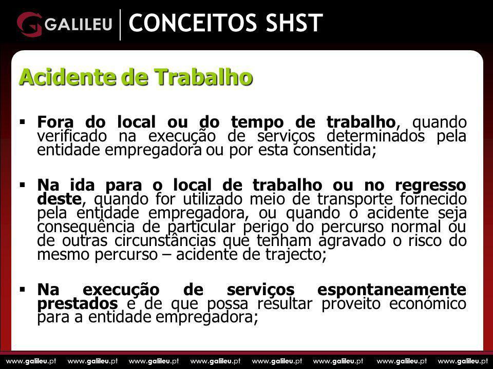 www. galileu.pt www. galileu.pt www. galileu.pt www. galileu.pt CONCEITOS SHST Fora do local ou do tempo de trabalho, quando verificado na execução de