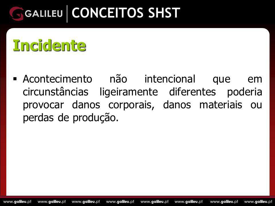 www. galileu.pt www. galileu.pt www. galileu.pt www. galileu.pt CONCEITOS SHST Acontecimento não intencional que em circunstâncias ligeiramente difere