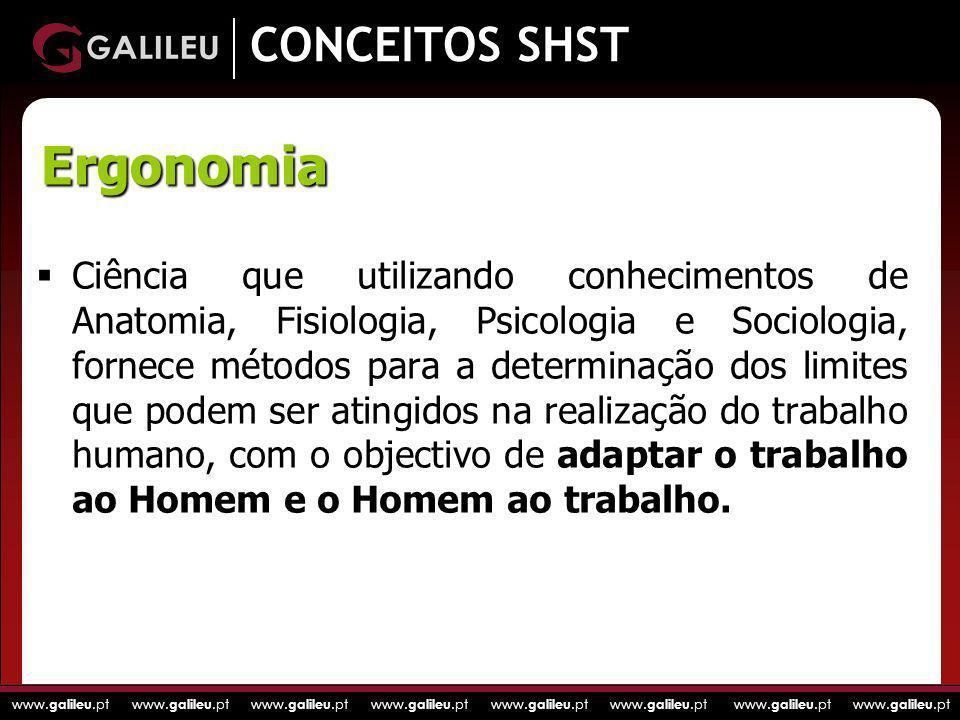 www. galileu.pt www. galileu.pt www. galileu.pt www. galileu.pt CONCEITOS SHST Ciência que utilizando conhecimentos de Anatomia, Fisiologia, Psicologi