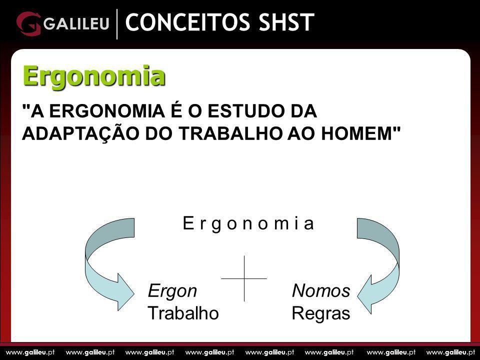 www. galileu.pt www. galileu.pt www. galileu.pt www. galileu.pt CONCEITOS SHST Ergonomia