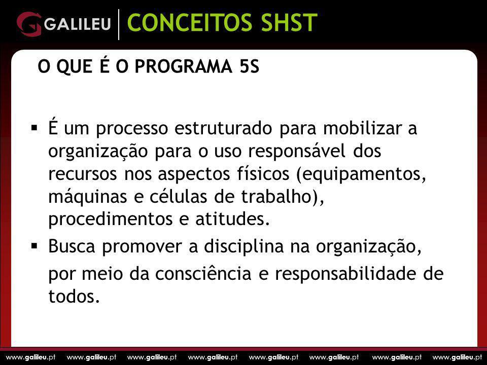 www. galileu.pt www. galileu.pt www. galileu.pt www. galileu.pt O QUE É O PROGRAMA 5S É um processo estruturado para mobilizar a organização para o us