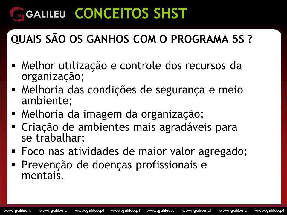 www. galileu.pt www. galileu.pt www. galileu.pt www. galileu.pt QUAIS SÃO OS GANHOS COM O PROGRAMA 5S ? Melhor utilização e controle dos recursos da o