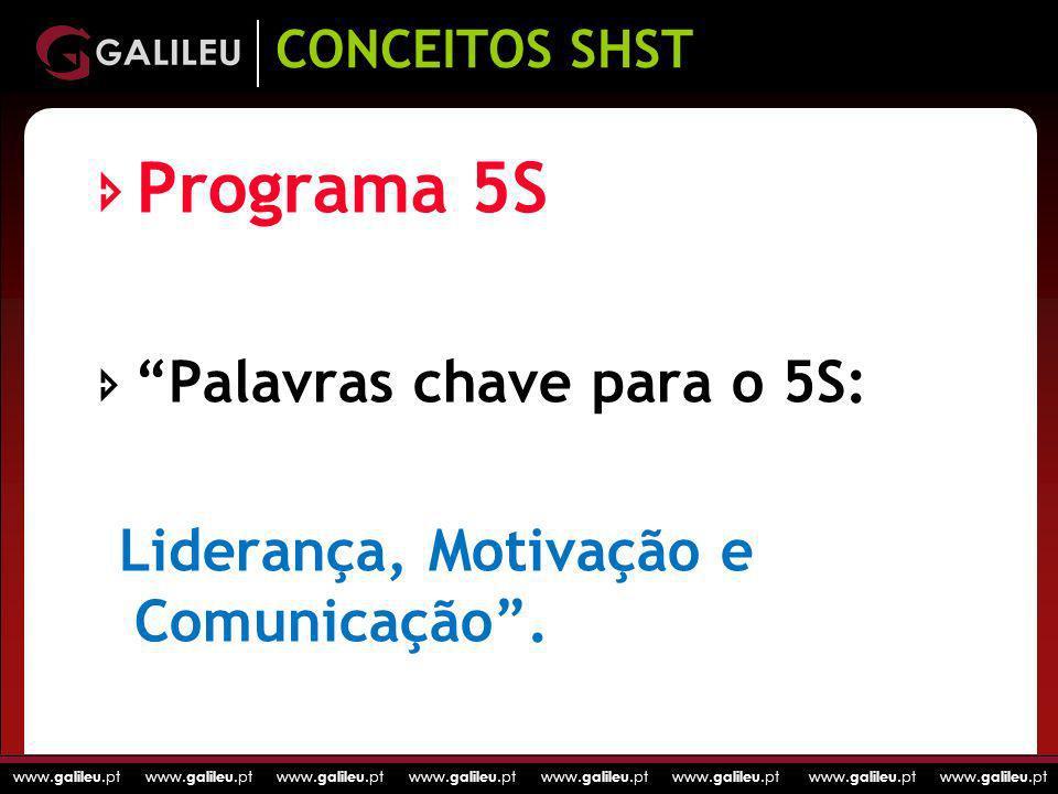 www. galileu.pt www. galileu.pt www. galileu.pt www. galileu.pt Programa 5S Palavras chave para o 5S: Liderança, Motivação e Comunicação. CONCEITOS SH