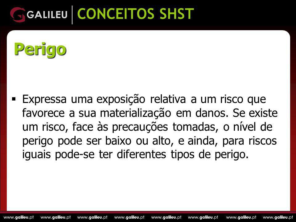 www. galileu.pt www. galileu.pt www. galileu.pt www. galileu.pt CONCEITOS SHST Expressa uma exposição relativa a um risco que favorece a sua materiali