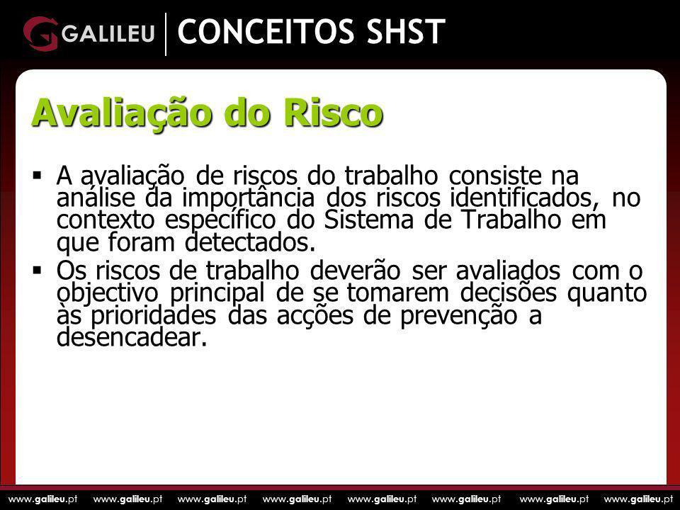 www. galileu.pt www. galileu.pt www. galileu.pt www. galileu.pt CONCEITOS SHST A avaliação de riscos do trabalho consiste na análise da importância do