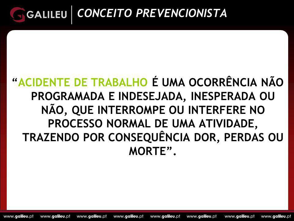 www. galileu.pt www. galileu.pt www. galileu.pt www. galileu.pt ACIDENTE DE TRABALHO É UMA OCORRÊNCIA NÃO PROGRAMADA E INDESEJADA, INESPERADA OU NÃO,