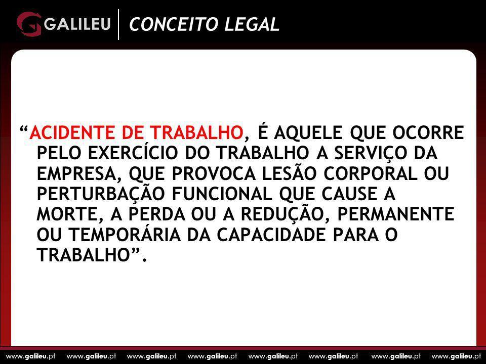 www. galileu.pt www. galileu.pt www. galileu.pt www. galileu.pt ACIDENTE DE TRABALHO, É AQUELE QUE OCORRE PELO EXERCÍCIO DO TRABALHO A SERVIÇO DA EMPR