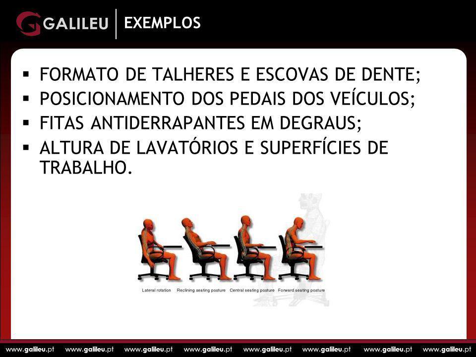 www. galileu.pt www. galileu.pt www. galileu.pt www. galileu.pt EXEMPLOS FORMATO DE TALHERES E ESCOVAS DE DENTE; POSICIONAMENTO DOS PEDAIS DOS VEÍCULO