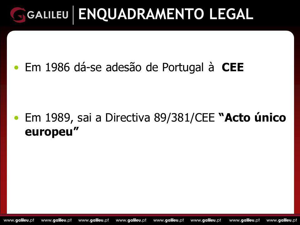 www. galileu.pt www. galileu.pt www. galileu.pt www. galileu.pt ENQUADRAMENTO LEGAL Em 1986 dá-se adesão de Portugal à CEE Em 1989, sai a Directiva 89