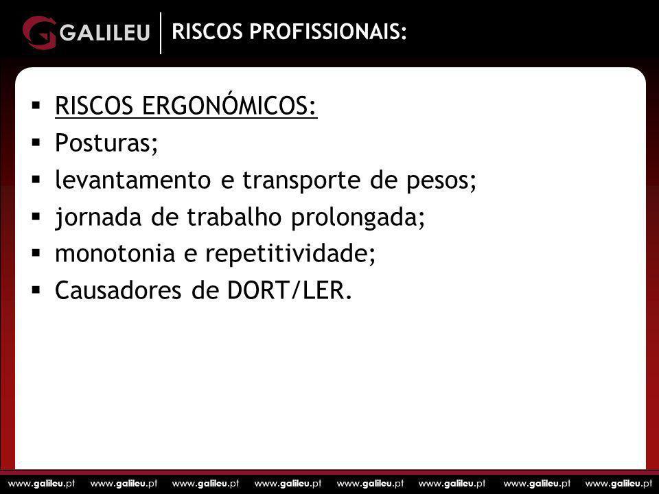 www. galileu.pt www. galileu.pt www. galileu.pt www. galileu.pt RISCOS PROFISSIONAIS: RISCOS ERGONÓMICOS: Posturas; levantamento e transporte de pesos