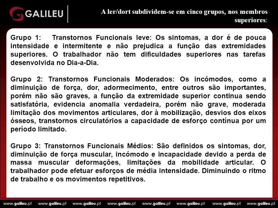 www. galileu.pt www. galileu.pt www. galileu.pt www. galileu.pt Grupo 1: Transtornos Funcionais leve: Os sintomas, a dor é de pouca intensidade e inte