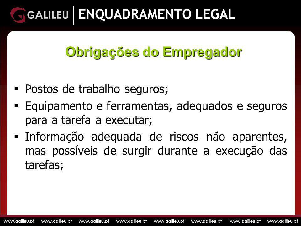 www. galileu.pt www. galileu.pt www. galileu.pt www. galileu.pt ENQUADRAMENTO LEGAL Postos de trabalho seguros; Equipamento e ferramentas, adequados e