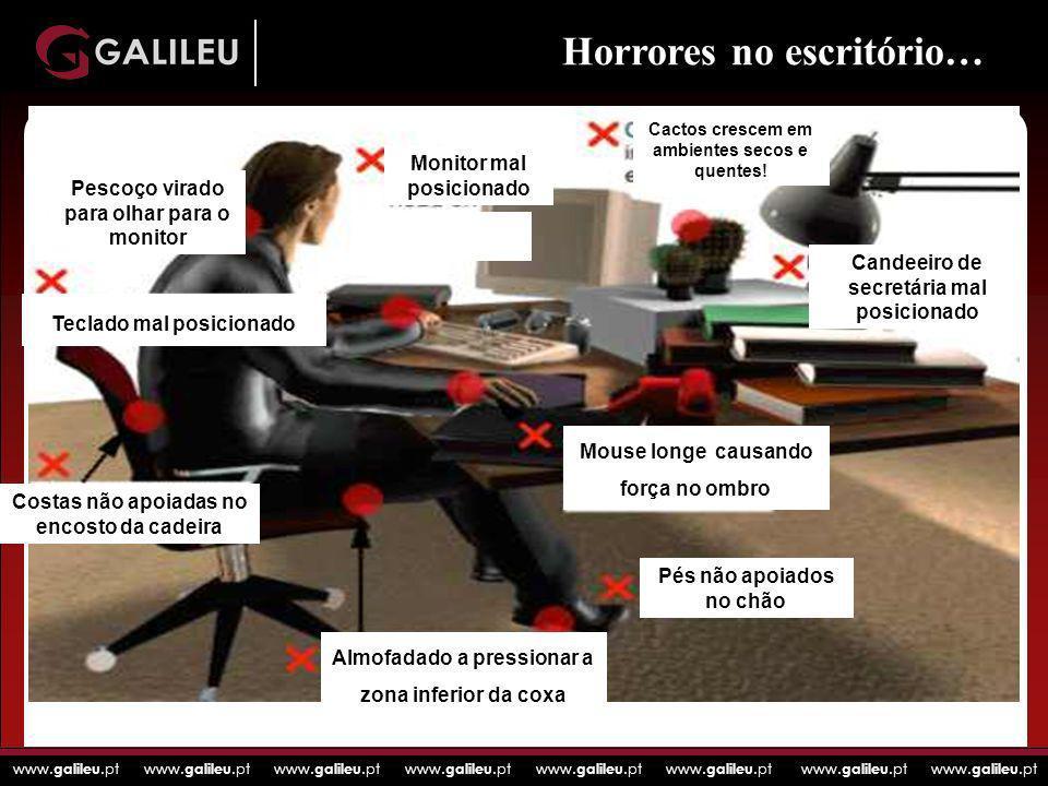 www. galileu.pt www. galileu.pt www. galileu.pt www. galileu.pt Horrores no escritório… Costas não apoiadas no encosto da cadeira Pés não apoiados no