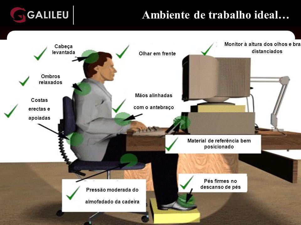 www. galileu.pt www. galileu.pt www. galileu.pt www. galileu.pt Ambiente de trabalho ideal… Cabeça levantada Ombros relaxados Costas erectas e apoiada