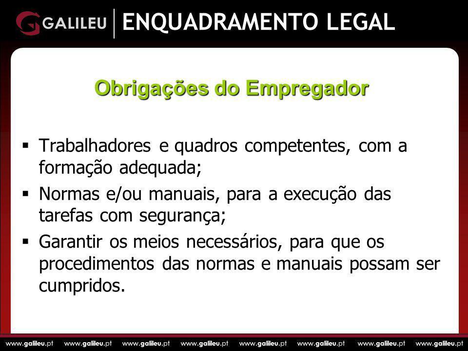 www. galileu.pt www. galileu.pt www. galileu.pt www. galileu.pt ENQUADRAMENTO LEGAL Trabalhadores e quadros competentes, com a formação adequada; Norm