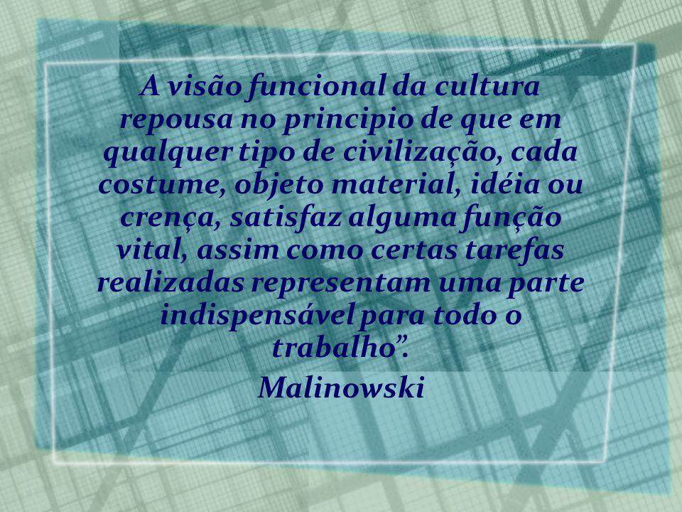A visão funcional da cultura repousa no principio de que em qualquer tipo de civilização, cada costume, objeto material, idéia ou crença, satisfaz alg