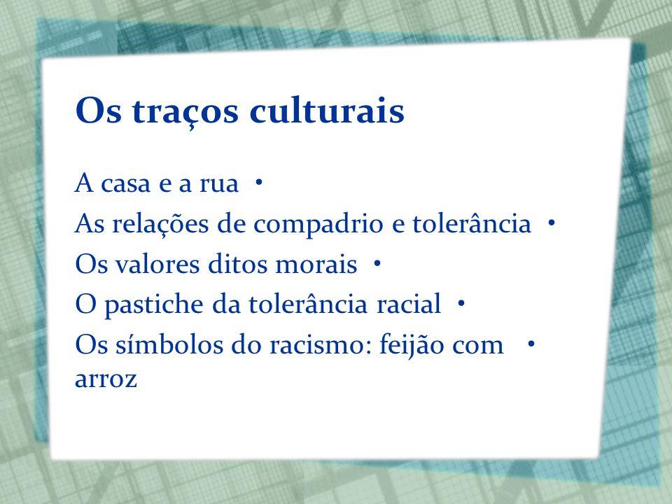 Os traços culturais A casa e a rua As relações de compadrio e tolerância Os valores ditos morais O pastiche da tolerância racial Os símbolos do racism