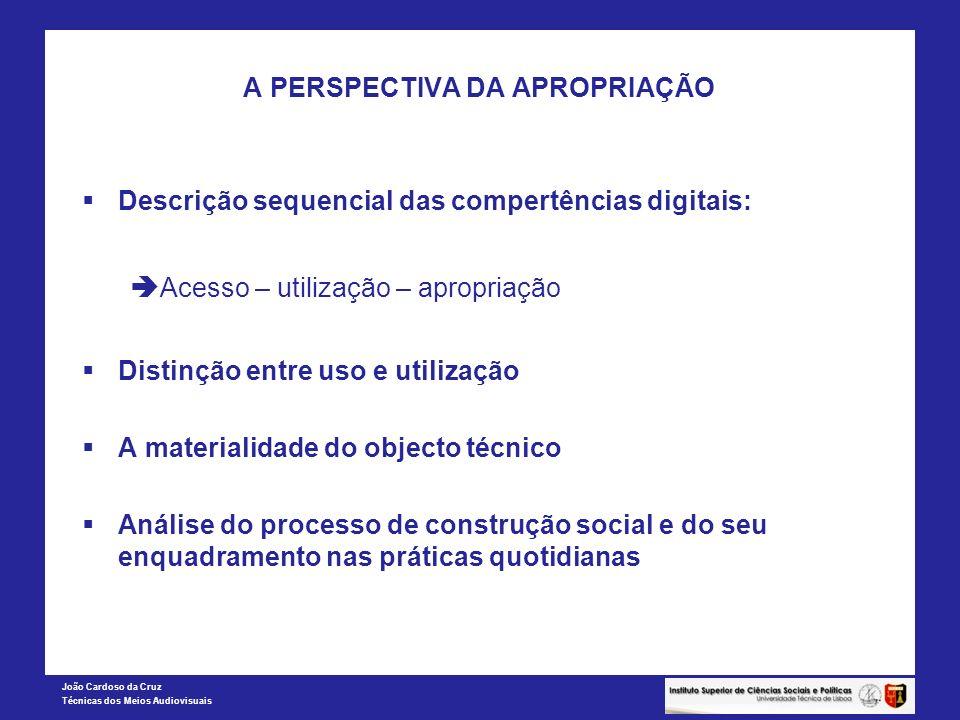 João Cardoso da Cruz Técnicas dos Meios Audiovisuais A PERSPECTIVA DA APROPRIAÇÃO Descrição sequencial das compertências digitais: Acesso – utilização