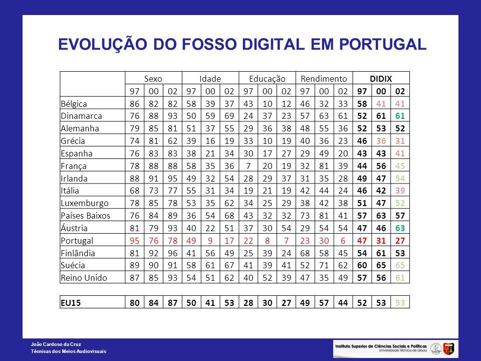 João Cardoso da Cruz Técnicas dos Meios Audiovisuais EVOLUÇÃO DO FOSSO DIGITAL EM PORTUGAL SexoIdadeEducaçãoRendimentoDIDIX 97000297000297000297000297