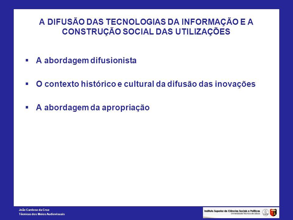 João Cardoso da Cruz Técnicas dos Meios Audiovisuais EVOLUÇÃO DO FOSSO DIGITAL EM PORTUGAL Índices DIDIX Computador (%)Internet (%)Internet em casa (%) Total % A % do total % B % do total % C % do total 0.5*A + 0.3*B +0.2*C Utilização total 45,9100,041,9100,033,5100,0 55 e mais anos 15,333,312,529,810,029,831,6 Mulheres 41,991,337,689,730,189,790,5 Nível educacional até ao 3º ciclo 30,265,825,761,320,661,363,6 Rendimento 1º quintil 10,021,810,023,98,023,922,8 Subíndice 53,251,252,6552,1