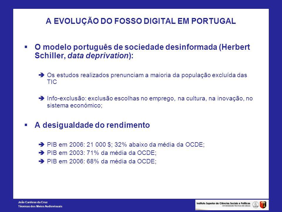 João Cardoso da Cruz Técnicas dos Meios Audiovisuais A EVOLUÇÃO DO FOSSO DIGITAL EM PORTUGAL O modelo português de sociedade desinformada (Herbert Sch