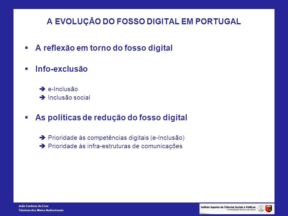 João Cardoso da Cruz Técnicas dos Meios Audiovisuais A EVOLUÇÃO DO FOSSO DIGITAL EM PORTUGAL A reflexão em torno do fosso digital Info-exclusão e-Incl