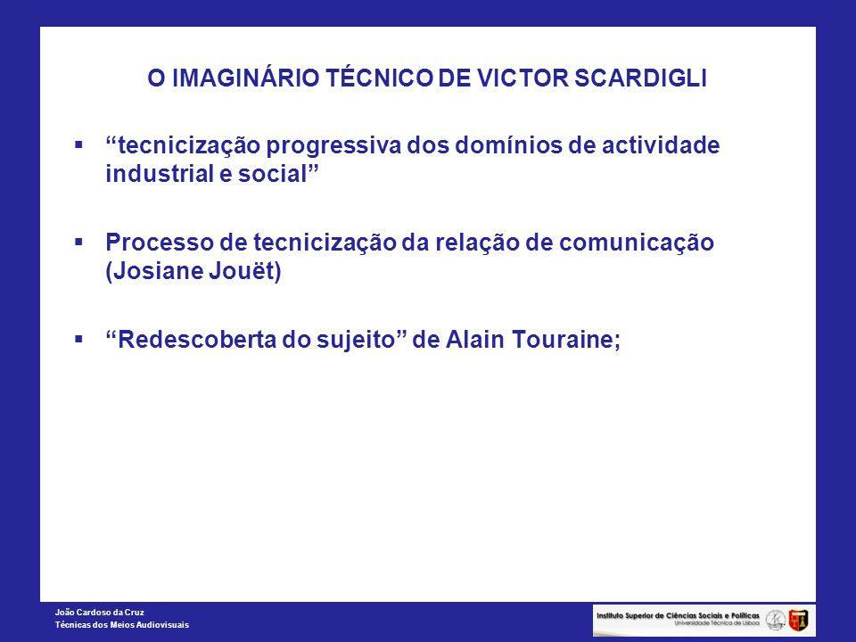 João Cardoso da Cruz Técnicas dos Meios Audiovisuais O IMAGINÁRIO TÉCNICO DE VICTOR SCARDIGLI tecnicização progressiva dos domínios de actividade indu