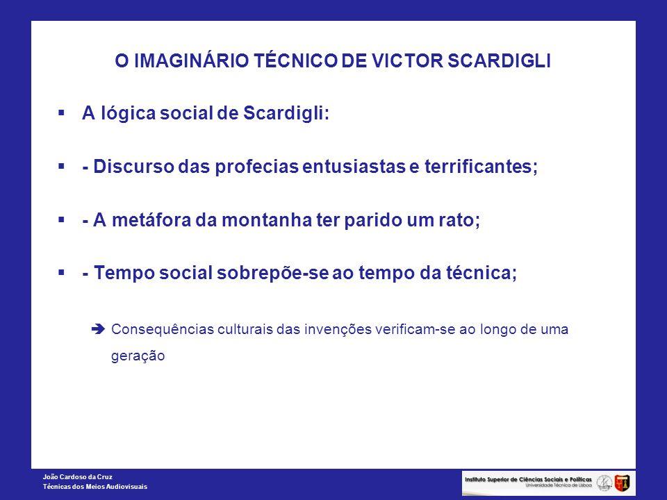 João Cardoso da Cruz Técnicas dos Meios Audiovisuais O IMAGINÁRIO TÉCNICO DE VICTOR SCARDIGLI A lógica social de Scardigli: - Discurso das profecias e