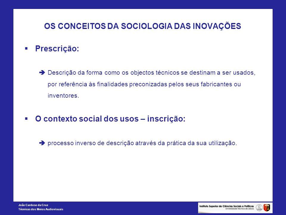 João Cardoso da Cruz Técnicas dos Meios Audiovisuais OS CONCEITOS DA SOCIOLOGIA DAS INOVAÇÕES Prescrição: Descrição da forma como os objectos técnicos