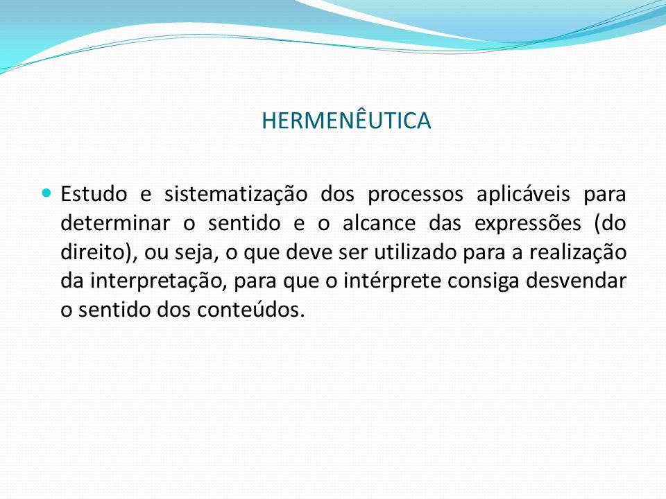 HERMENÊUTICA Estudo e sistematização dos processos aplicáveis para determinar o sentido e o alcance das expressões (do direito), ou seja, o que deve s