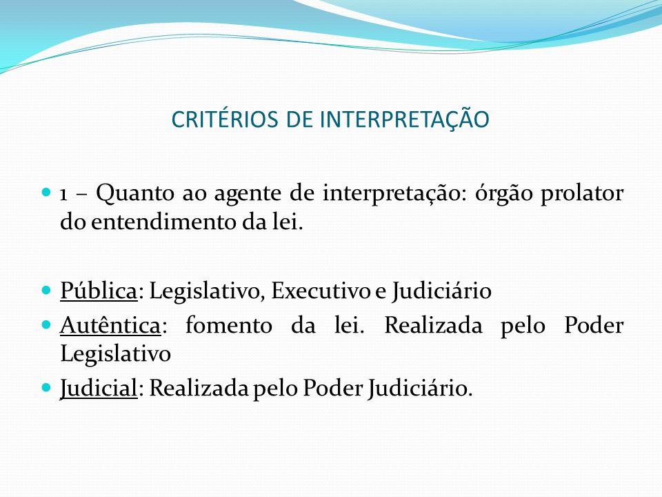 CRITÉRIOS DE INTERPRETAÇÃO 1 – Quanto ao agente de interpretação: órgão prolator do entendimento da lei. Pública: Legislativo, Executivo e Judiciário
