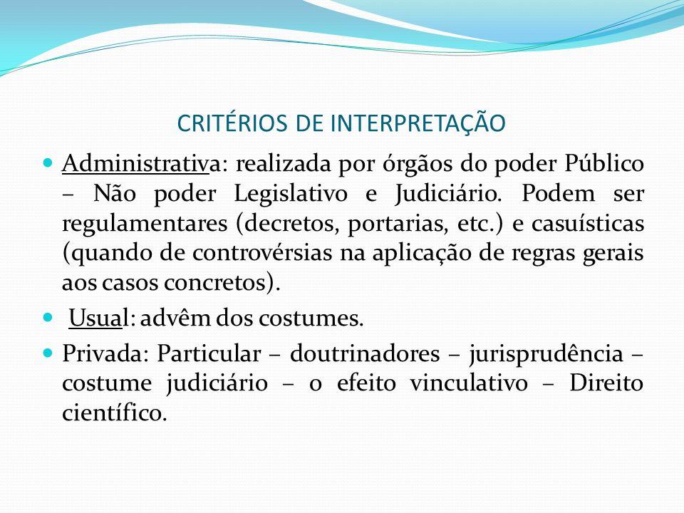 CRITÉRIOS DE INTERPRETAÇÃO Administrativa: realizada por órgãos do poder Público – Não poder Legislativo e Judiciário. Podem ser regulamentares (decre