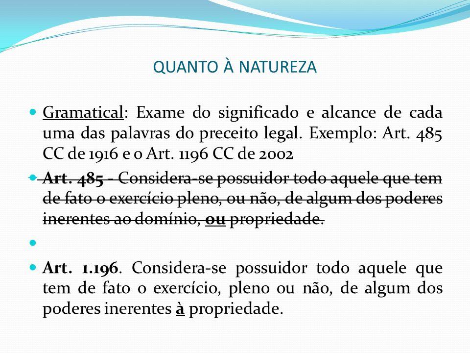 QUANTO À NATUREZA Gramatical: Exame do significado e alcance de cada uma das palavras do preceito legal. Exemplo: Art. 485 CC de 1916 e o Art. 1196 CC