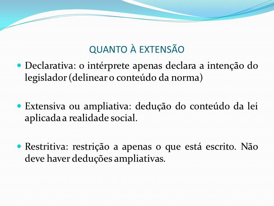 QUANTO À EXTENSÃO Declarativa: o intérprete apenas declara a intenção do legislador (delinear o conteúdo da norma) Extensiva ou ampliativa: dedução do