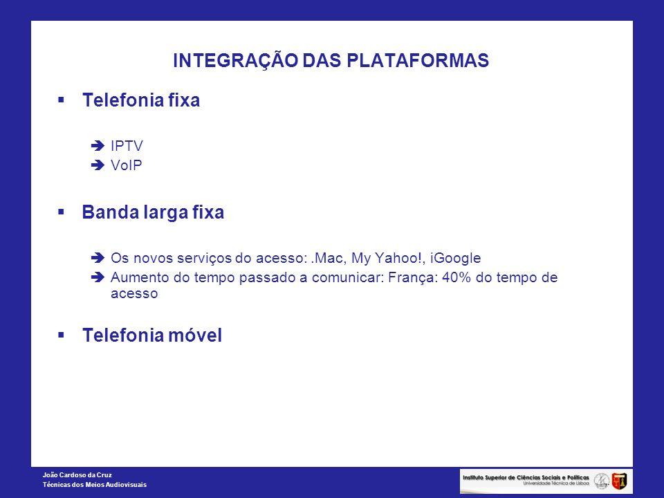 João Cardoso da Cruz Técnicas dos Meios Audiovisuais INTEGRAÇÃO DAS PLATAFORMAS Telefonia fixa IPTV VoIP Banda larga fixa Os novos serviços do acesso: