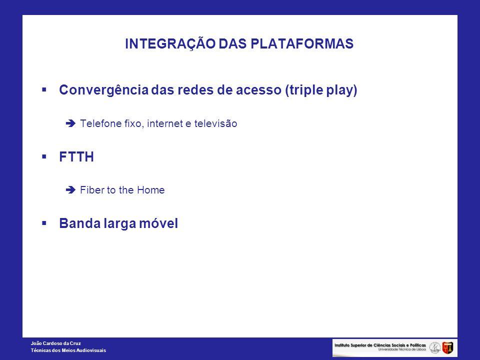 João Cardoso da Cruz Técnicas dos Meios Audiovisuais INTEGRAÇÃO DAS PLATAFORMAS Convergência das redes de acesso (triple play) Telefone fixo, internet