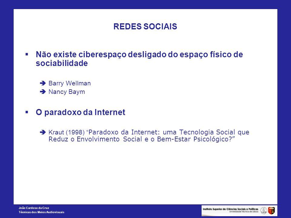 João Cardoso da Cruz Técnicas dos Meios Audiovisuais REDES SOCIAIS Não existe ciberespaço desligado do espaço físico de sociabilidade Barry Wellman Na