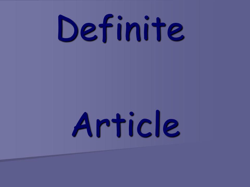 Definite Article Article