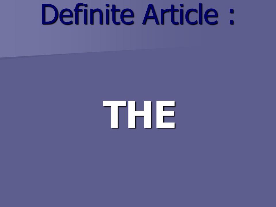 Definite Article : THE THE
