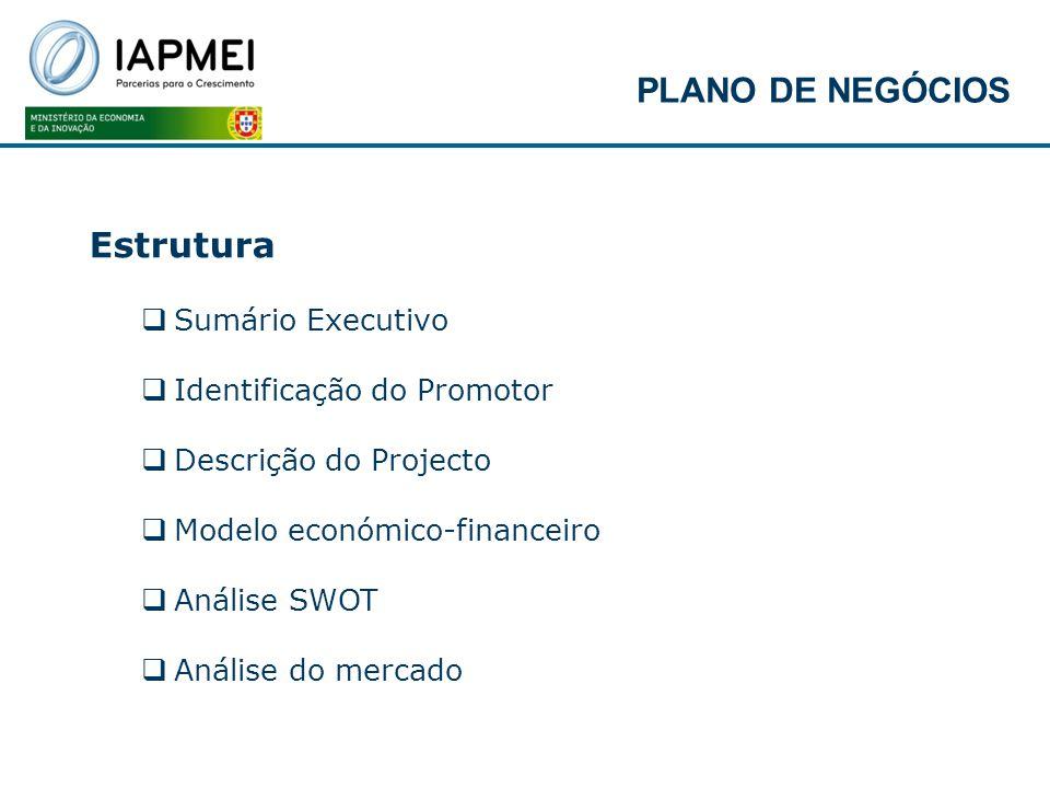 Estrutura Sumário Executivo Identificação do Promotor Descrição do Projecto Modelo económico-financeiro Análise SWOT Análise do mercado PLANO DE NEGÓC