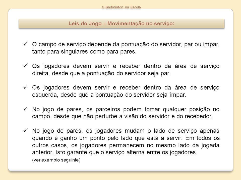 Leis do Jogo – Movimentação no serviço: O Badminton na Escola O campo de serviço depende da pontuação do servidor, par ou impar, tanto para singulares
