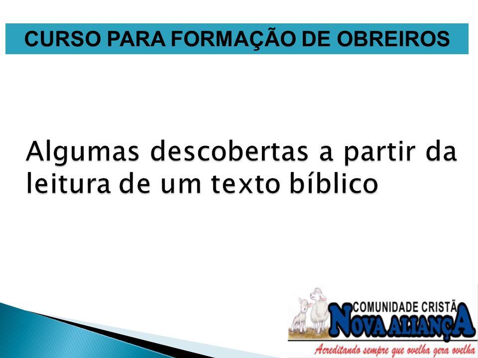 CURSO PARA FORMAÇÃO DE OBREIROS